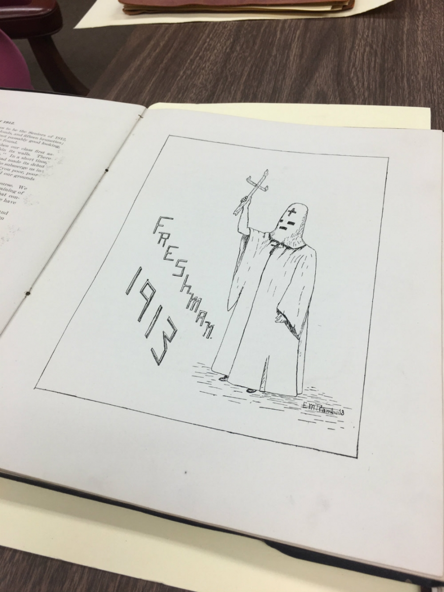 A drawing of a person in a robe, similar to the Ku Klux Klan robes.