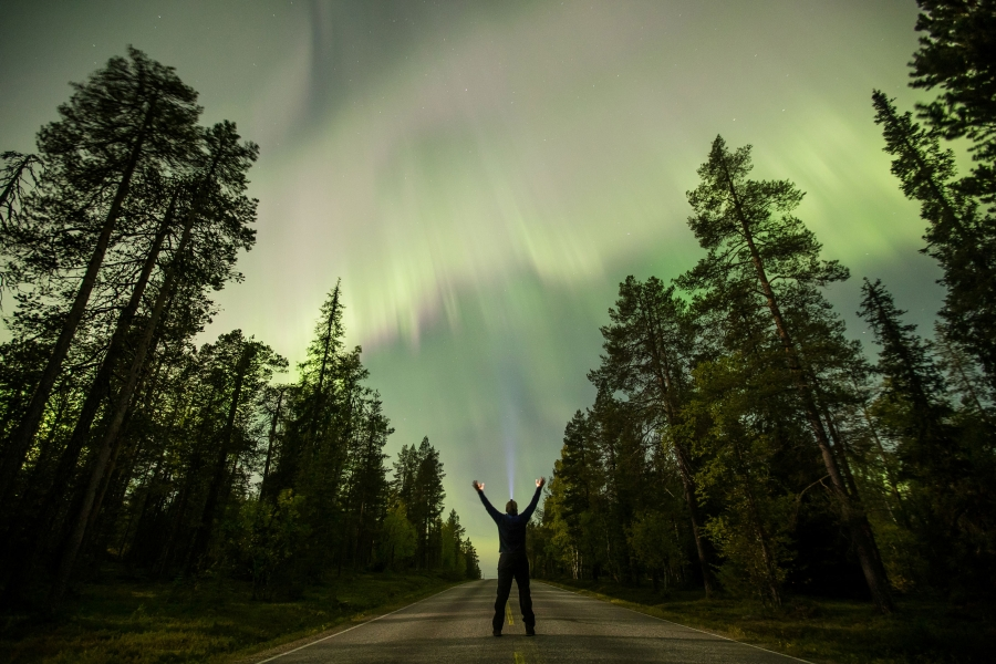 The Aurora Borealis is seen over the sky near the village of Pallas of Lapland, Finland.