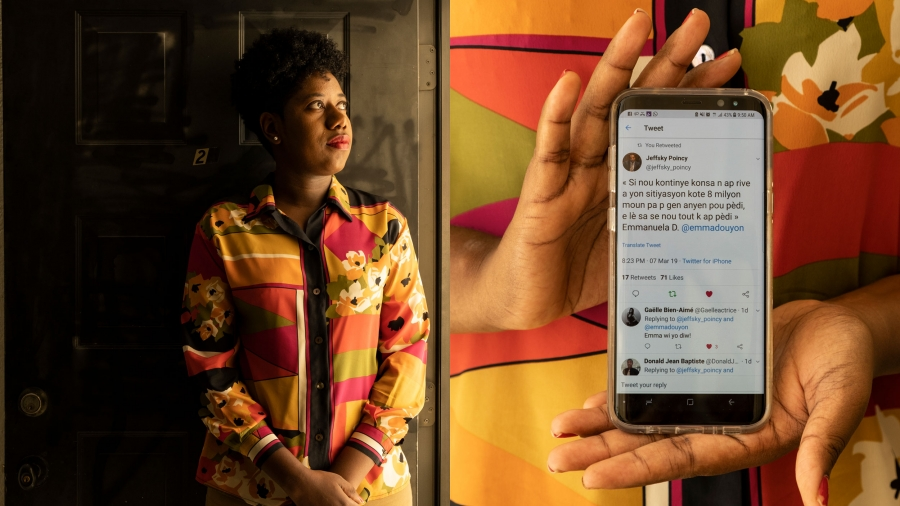 A portrait of Emmanuela Douyon is shown on the left with a second photo of her phone showcasing one of her tweets on the right.