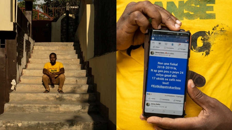 James Beltis is shown on the left sitting on steps with a second photo on the right showing his phone.