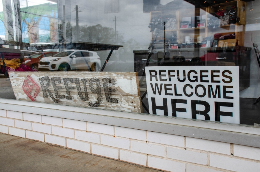 A sign welcomes Georgia's newest arrivals at the Refuge Coffee Shop in Clarkston.