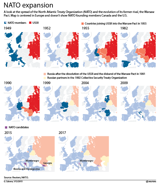 A map shows the expansion of NATO along the Russia's western border
