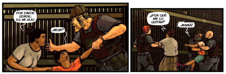 A comic book panel of an immigration officer taking a child away from his mother