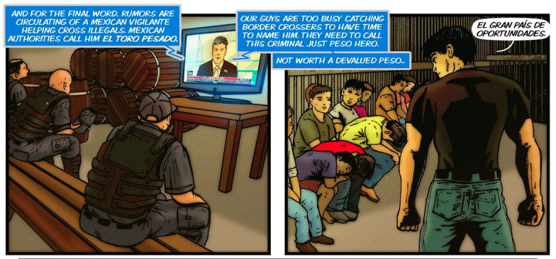 A comic book panel of geared-up officers watching a screen and a man addressing people in detention.