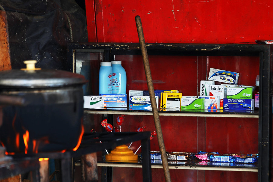 Medicines are displayed on sale in a stall at Las Pulgas market in Maracaibo, Venezuela.