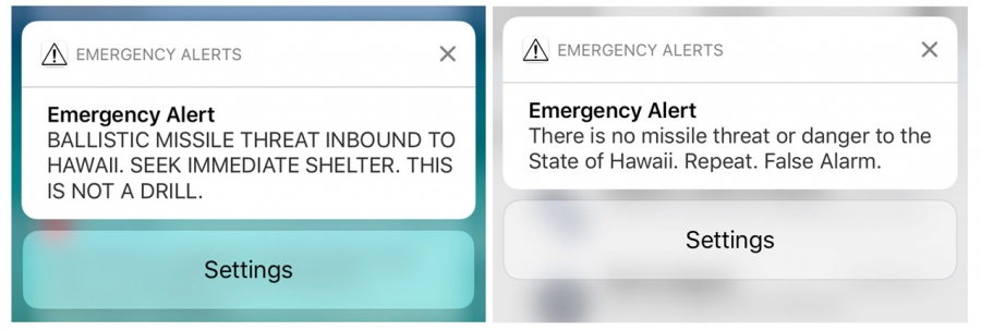 Screen shots of a warning message and a false alarm