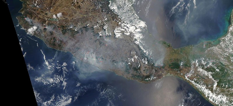 Satellite imagery over Mexico showing fires.