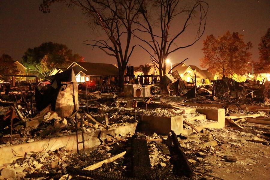 A burned out neighborhood.