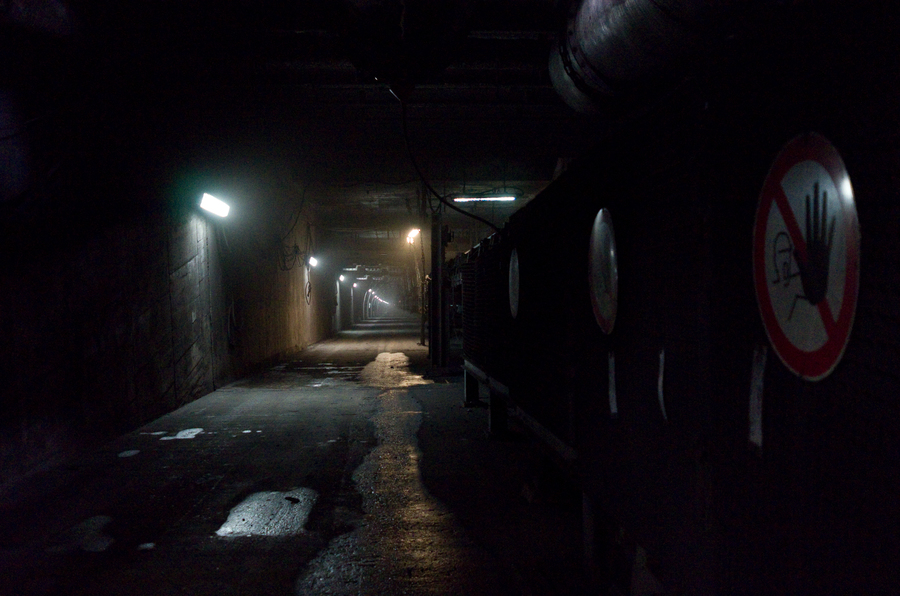 A diagonal shaft going into the Prosper-Haniel coal mine.