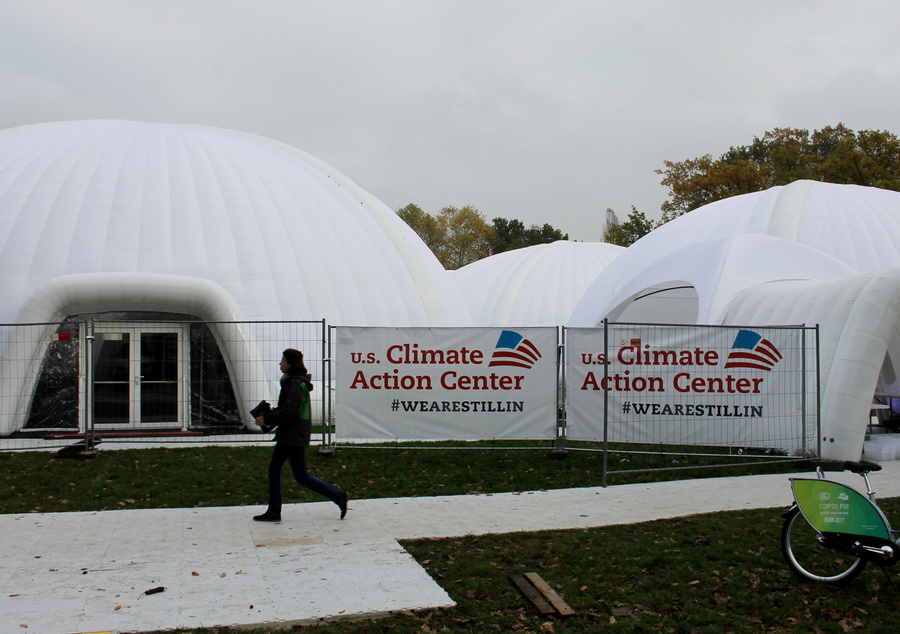 Not the US pavillion at the UN climate negotiations in Bonn, Germany, this giant tent was set up by US groups opposed to to the policies of the official US delegation and President Donald Trump.