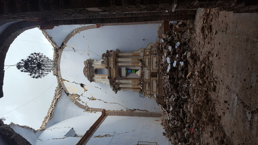 A view inside the ruined chapel of the Ex-Convent of San Guillermo Abad, in Totolapan,