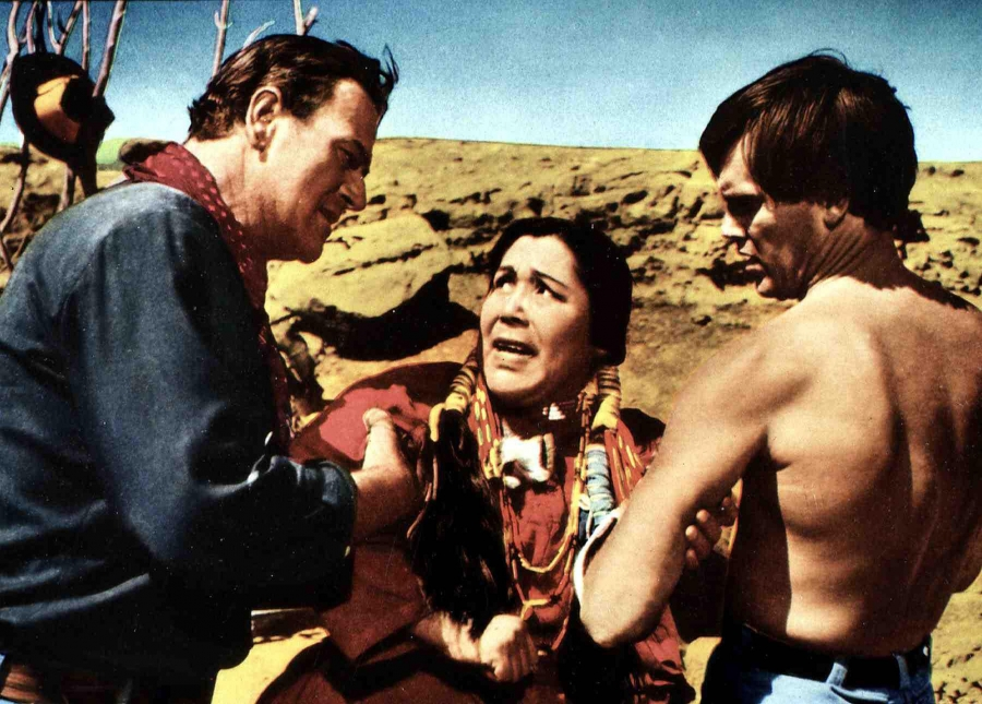 "John Wayne, Beulah Archuletta and Jeffrey Hunter in ""The Searchers."""