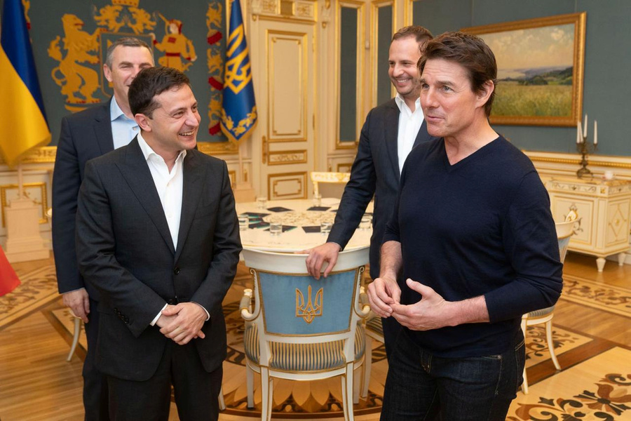 Ukraine's President Volodymyr Zelenskiy meets with actor and producer Tom Cruise