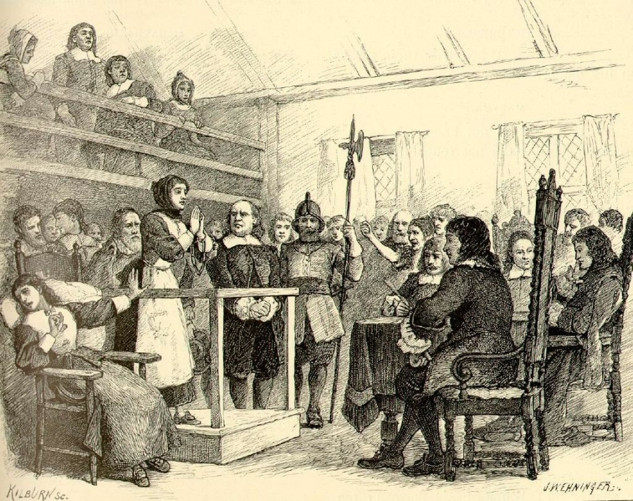 An illustration of a woman pleading in a courtroom