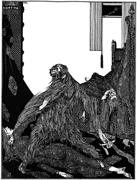 "Harry Clarke's 1919 illustration for the story ""The Murders in the Rue Morgue."""