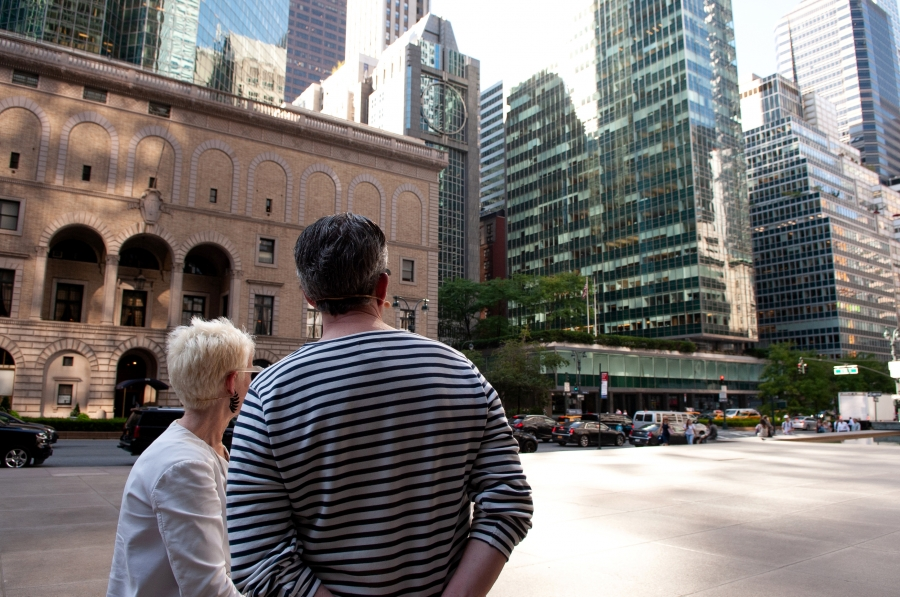 Frances Bronet and Kurt Andersen look at the Lever House building (right) from the Seagrams plaza.
