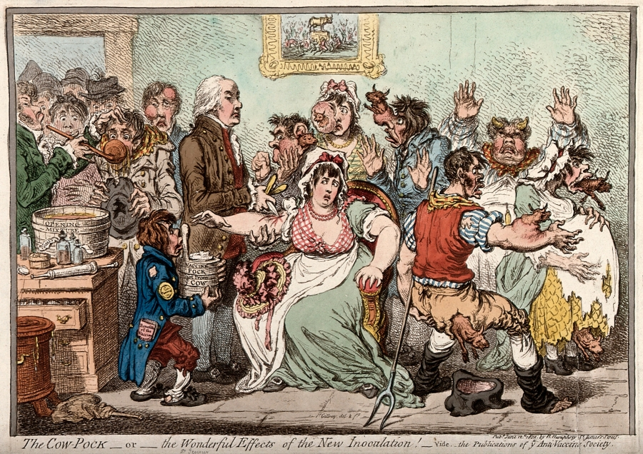 Caricature of Edward Jenner inoculating patients in the Smallpox and Inoculation Hospital at St. Pancras.