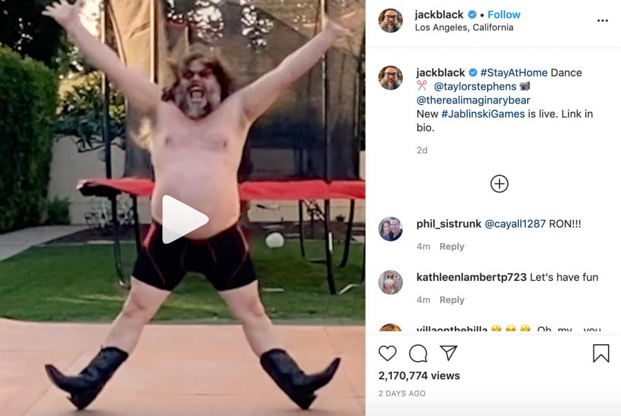 A screenshot of Jack Black's Instagram