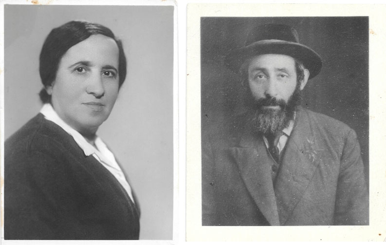 Two black and white photos side by side. One of a woman and one of a man.