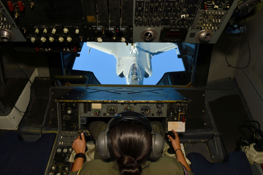 A woman pilots an F-35 plane