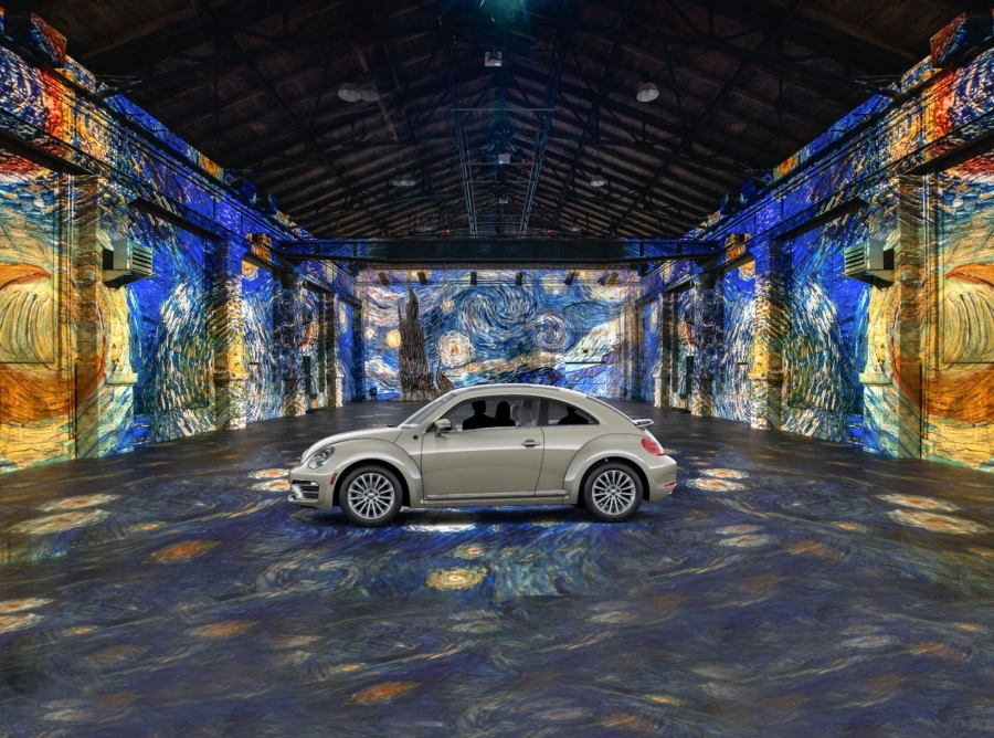 a image simulation of Van Gogh art projected in a room with a car in the center