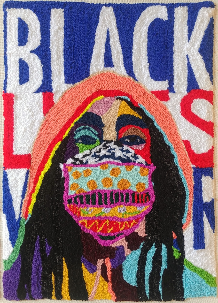 A piece of visual art alluding to Black Lives Matter, featuring a person in a mask