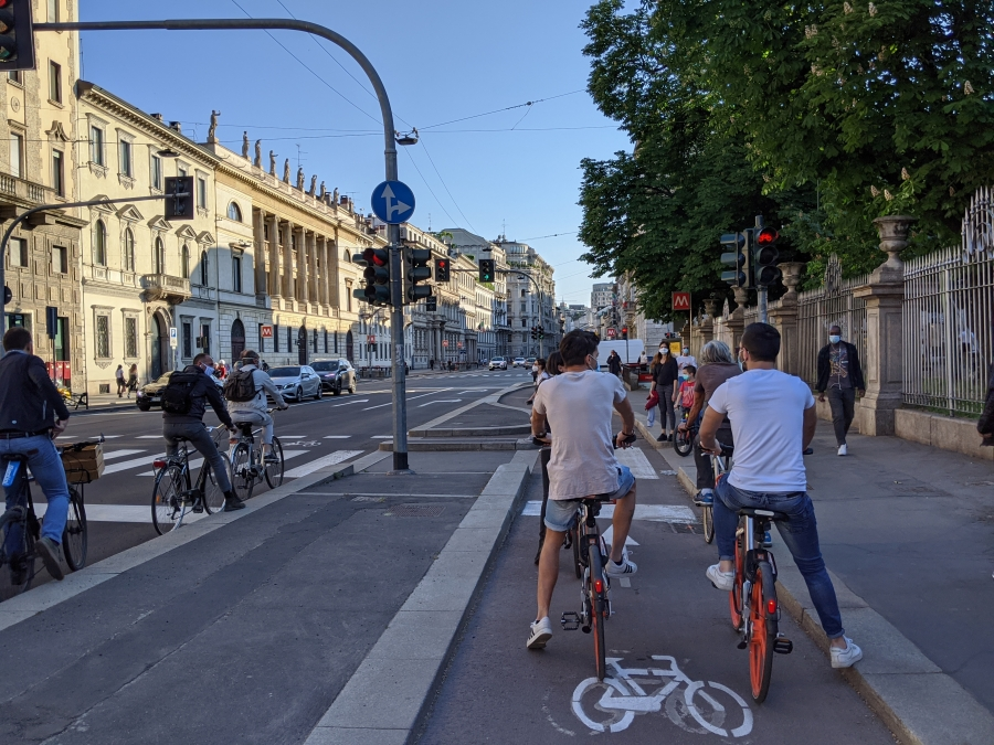 Corso Buenos Aires is Milan's first street to be transformed as part of a citywide plan to convert 22 miles of roads this summer into bike paths and pedestrian areas.