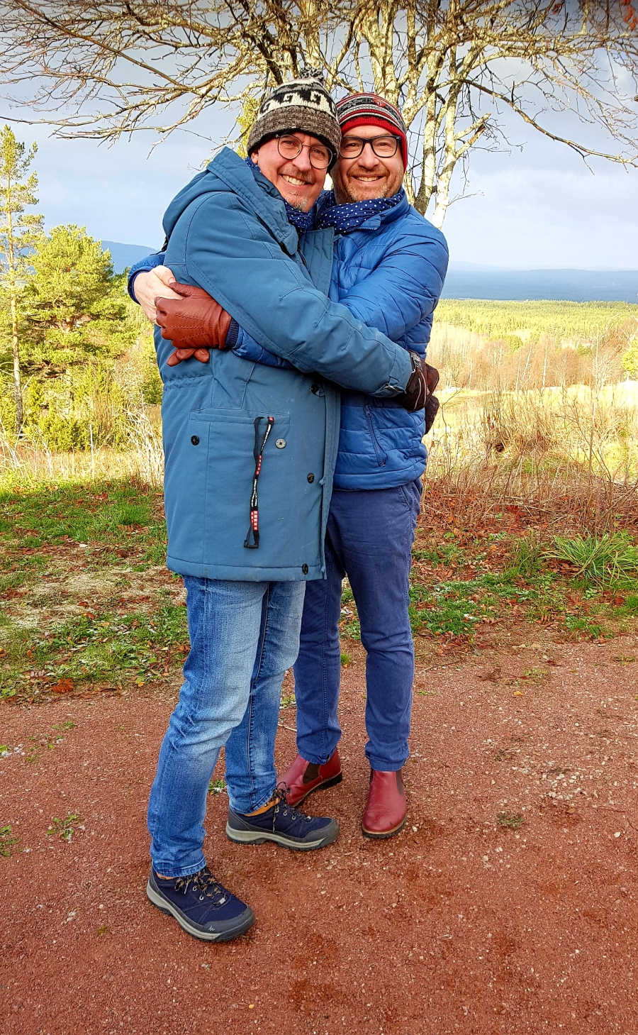 Keith Begg and his husband Cristian Pettersson are pictured in Dalarna County, north of Stockholm.