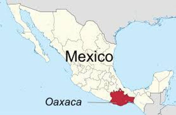 A map showing the location of Oaxaca in Mexico