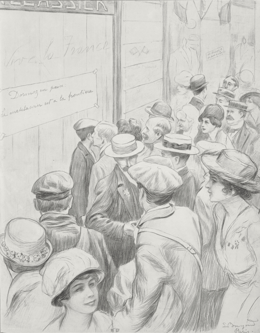 A drawing of a crowd of people in front of closed shops.