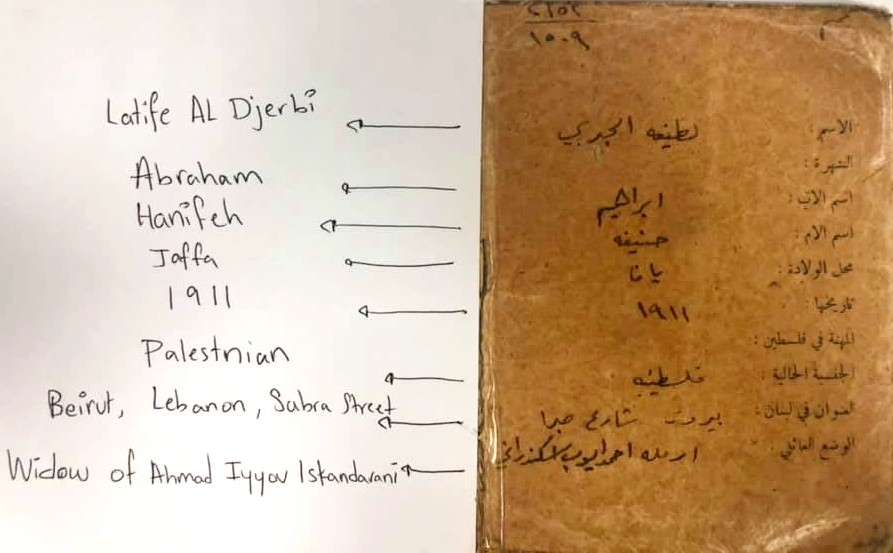 The identity card for Iskandarani's great-grandmother, Latife Djerbi, which was found in a folder of family history documents in Beirut.