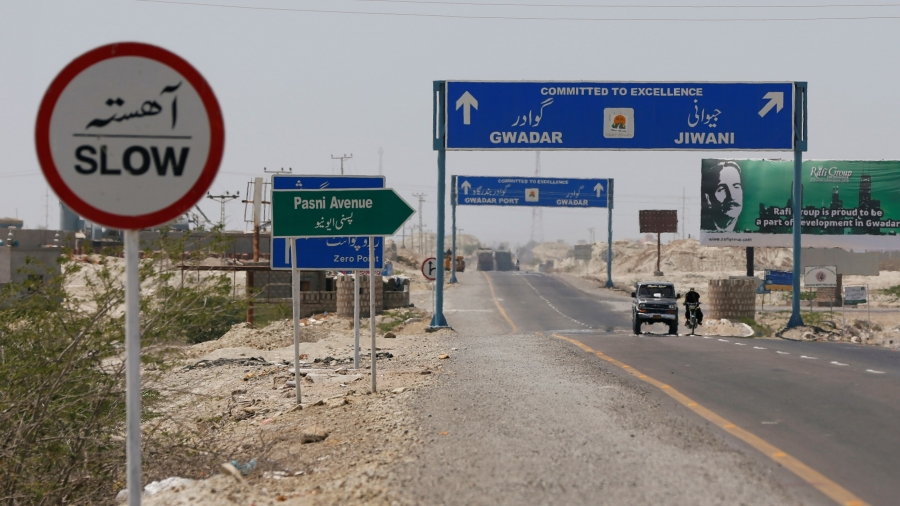 A general view of signs along a highway leading to Gwadar, Pakistan, April 12, 2017.