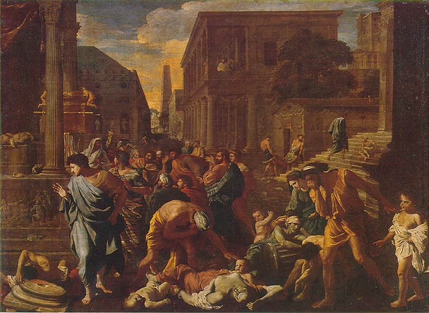 A painting of people suffering from the Plague of Ashdod.