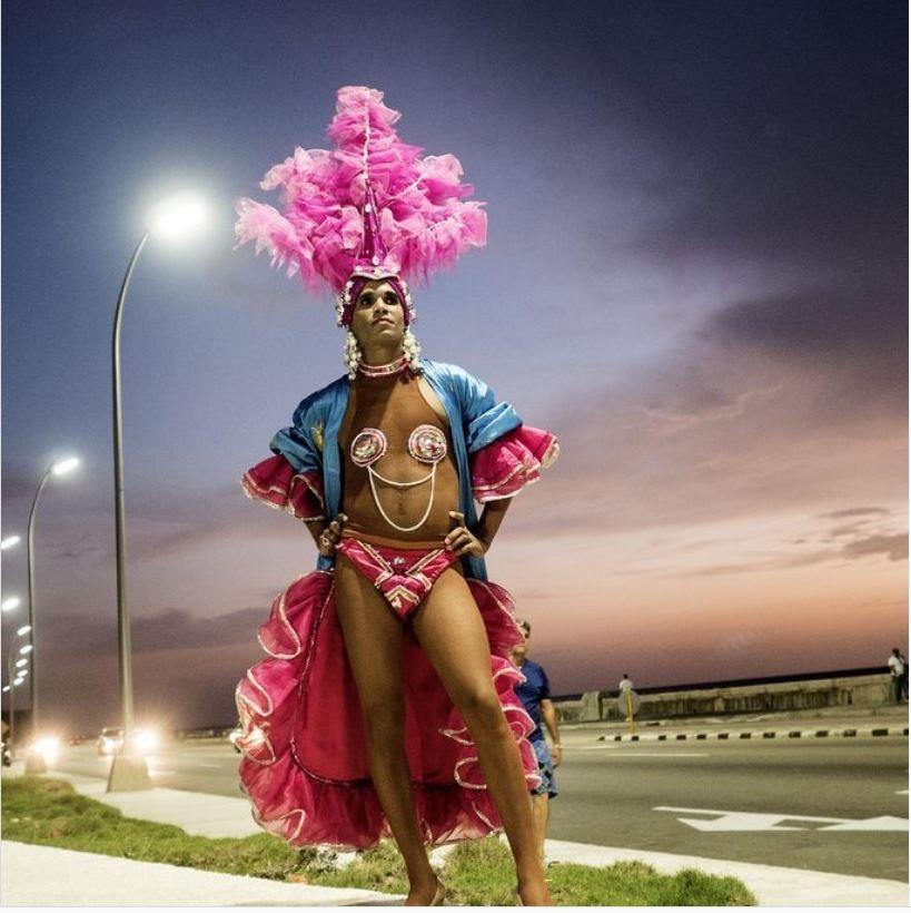 Artist Luis Manuel Otero Alcántara as 'Miss Biennial of Havana,' 2017.