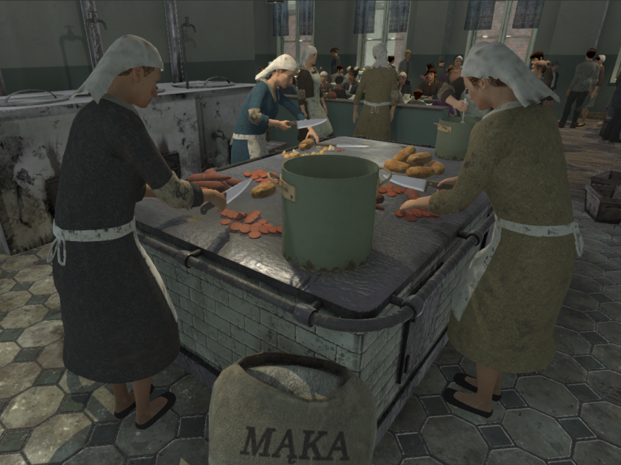 A virtual image of people cooking on a large stove.