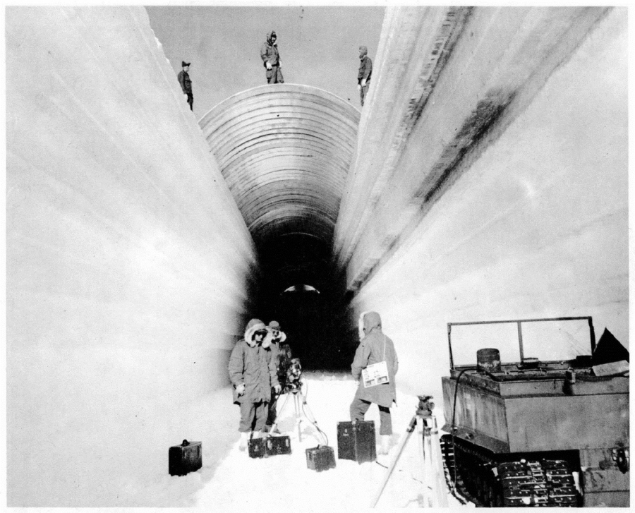Workers build the snow tunnels at the Camp Century research base in 1960. U.S. Army Corps of Engineers