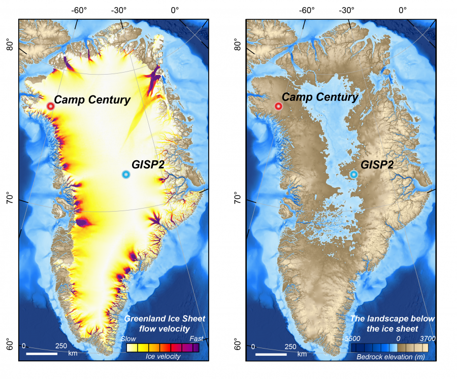 Maps of Greenland show the speed of the ice sheet as it flows (left) and the landscape hidden beneath it (right). BedMachine v3; Copernicus Climate Change Service (C3S)