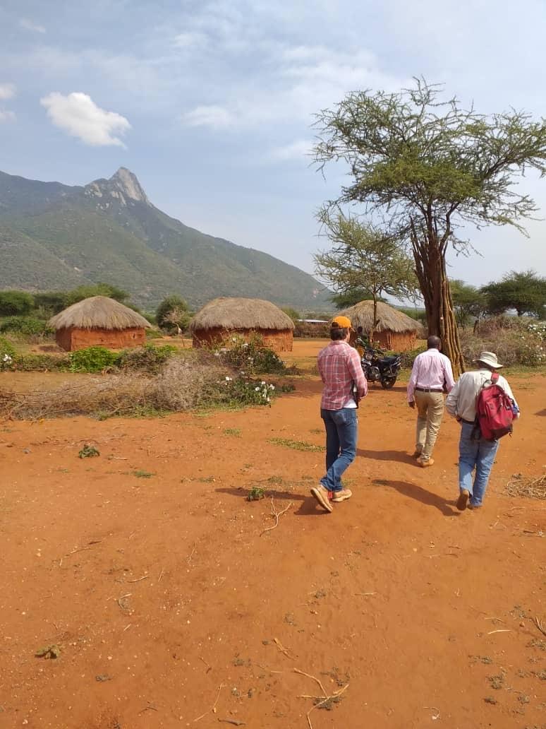 Researchers visit a Maasai homestead in Longido District, Tanzania.