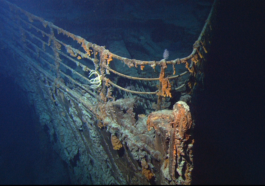 The bow of the Titanic, photographed on a return voyage in 2004.