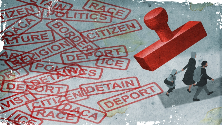 illustration of people being stamped bu immigration words