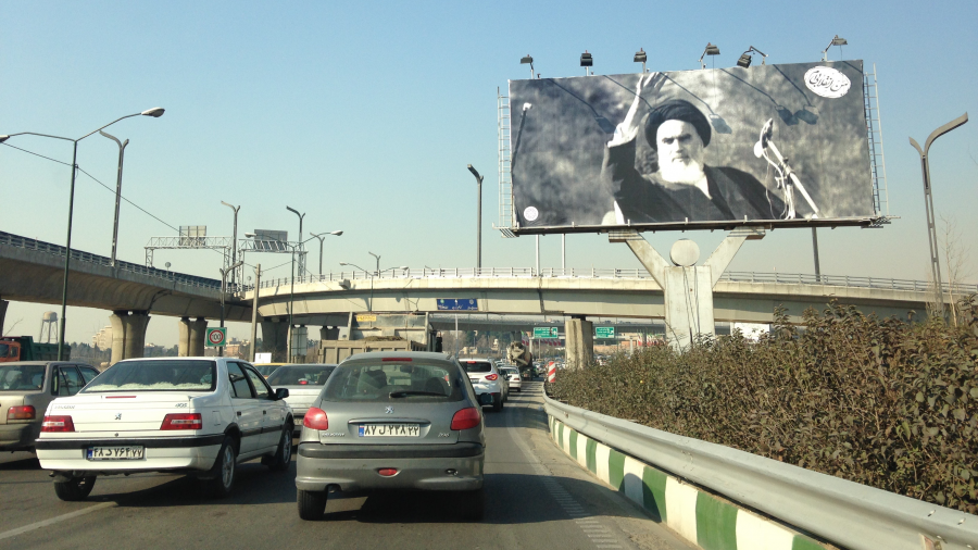 Just after the anniversary of the Islamic Iranian revolution, a billboard in Tehran displays a photo of the supreme leader.