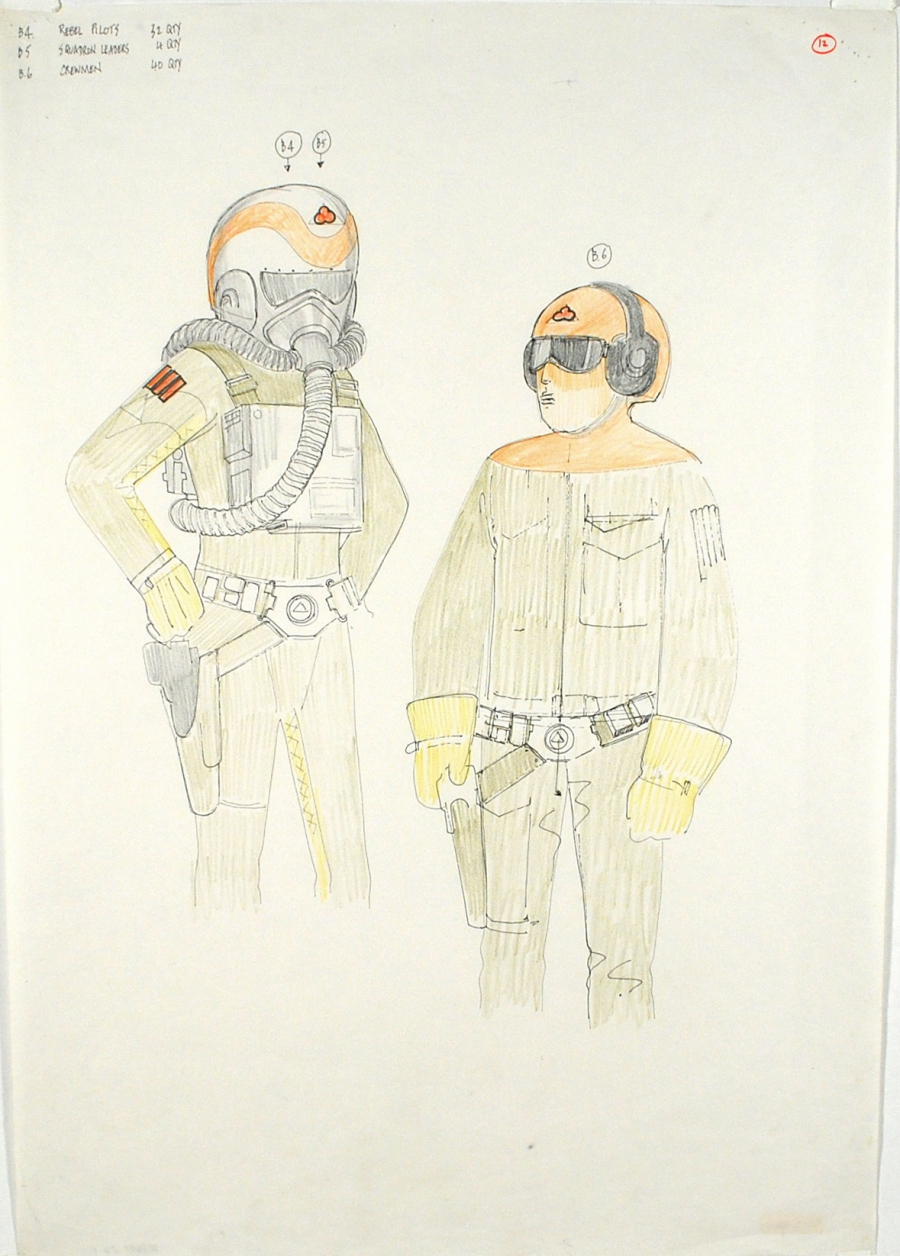 Costume sketches by John Mollo for rebel pilots.