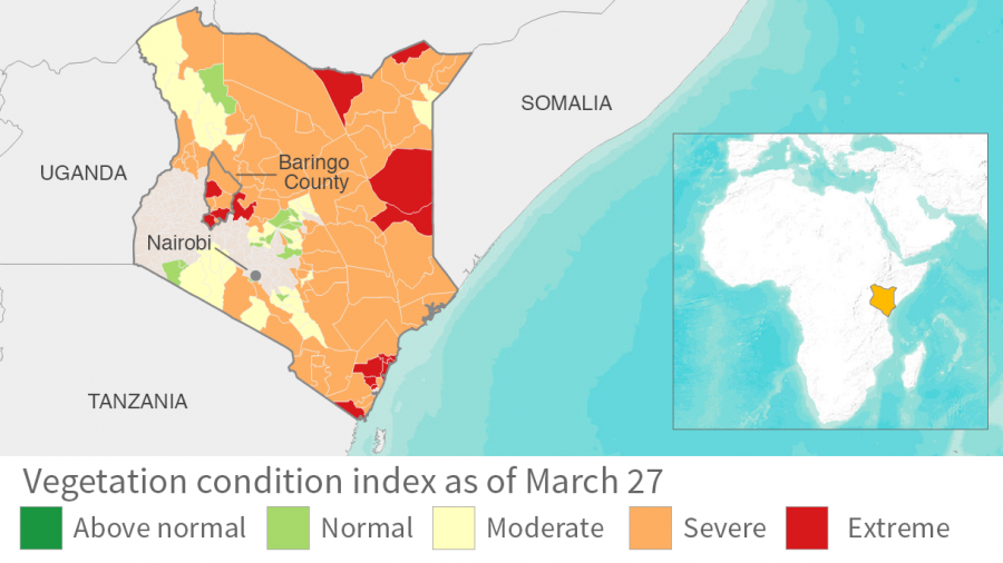 "The Vegetation Condition Index is a system for evaluating the difference between ground vegetation. In Kenya, especially Baringo County, many areas are classified in the ""extreme category."""