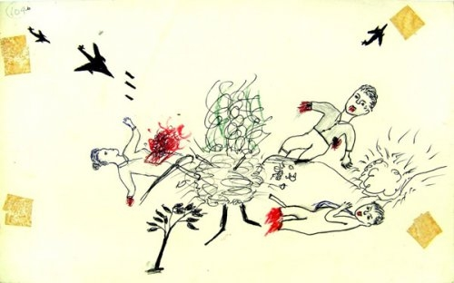 Drawing of bodies hit by bombs