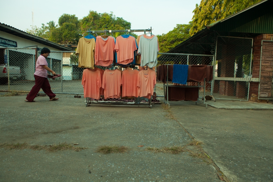 Laundry hangs at the Women's Vocational Training Center in Chiang Mai.