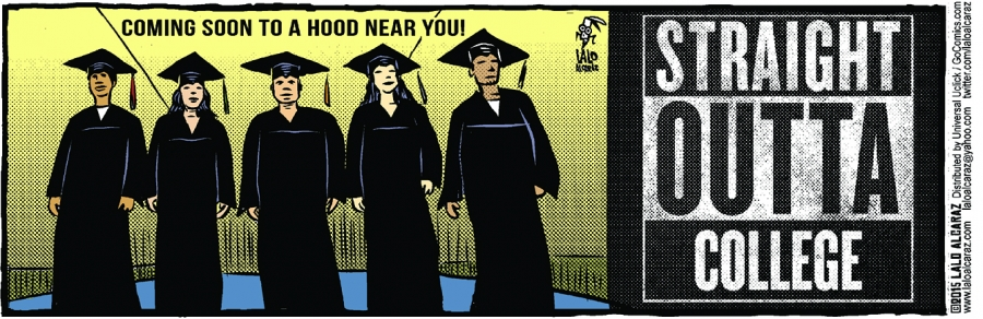 """cartoon showing Latinos getting college degrees called """"Straight outta college"""""""
