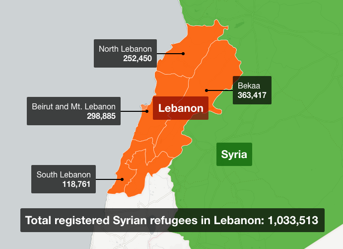 Syrian refugees in Lebanon map