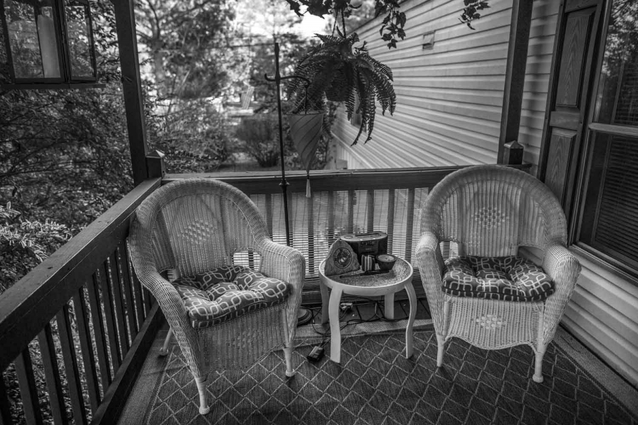 Brandon Ladner. Pelham, Alabama. Here is the front porch of Ladner's home. Ladner was a US Marine Corps Veteran who fought in Afghanistan's Helmand Province. Brandon, suffering from PTSD shot himself inside his living room. The bullet remains lodged in th