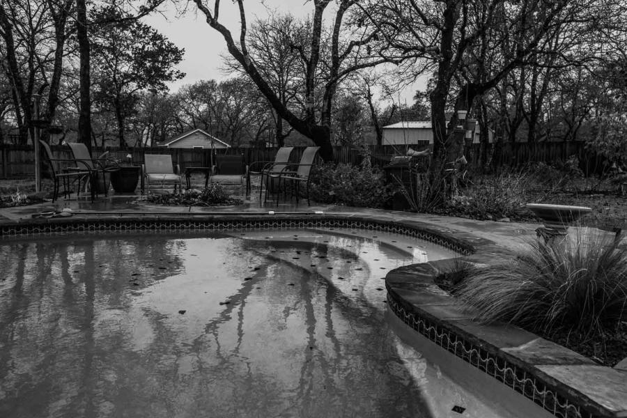 The pool where Veteran Clay Ward took his life.