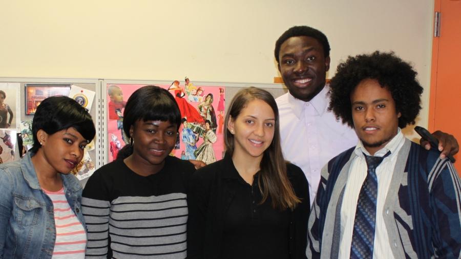 (L to R) Hawa Toure, Nosakhare Okunmwendia, Daybelis De La Rosa, Osarumwense Agbonsalo, and Fissehana Gebreyesus are students at North Shore Community College in Lynn, Massachusetts